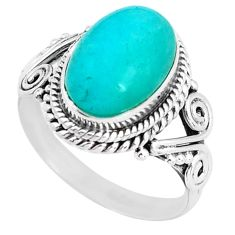4.42cts natural green peruvian amazonite silver solitaire ring size 6.5 d32070