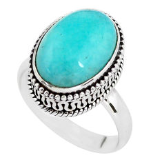 6.76cts natural green peruvian amazonite silver solitaire ring size 7.5 p56518