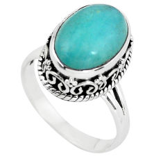 7.02cts natural green peruvian amazonite silver solitaire ring size 8.5 p56540