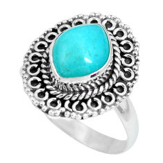 4.06cts natural green peruvian amazonite silver solitaire ring size 8.5 p63181