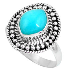 4.17cts natural green peruvian amazonite silver solitaire ring size 8.5 p63184