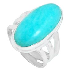 10.04cts natural green peruvian amazonite silver solitaire ring size 6 p65562