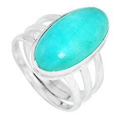 10.04cts natural green peruvian amazonite silver solitaire ring size 7.5 p65563