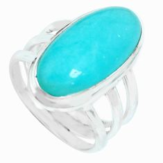 9.72cts natural green peruvian amazonite silver solitaire ring size 7 p65572
