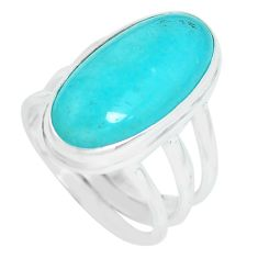 10.04cts natural green peruvian amazonite silver solitaire ring size 6.5 p65573