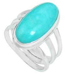 10.89cts natural green peruvian amazonite silver solitaire ring size 9 p65575