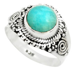 3.01cts natural green peruvian amazonite silver solitaire ring size 6.5 p71820