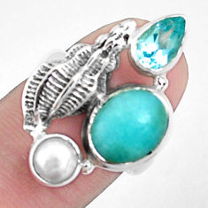6.96cts natural green peruvian amazonite topaz 925 silver ring size 6.5 p42609