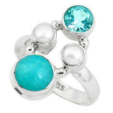 7.07cts natural green peruvian amazonite topaz 925 silver ring size 8 p52682