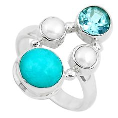 7.66cts natural green peruvian amazonite topaz 925 silver ring size 7 p52690