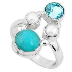 7.84cts natural green peruvian amazonite topaz 925 silver ring size 8 p52693