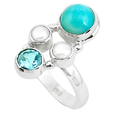 7.40cts natural green peruvian amazonite topaz 925 silver ring size 6.5 p52699