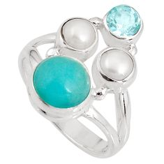 7.03cts natural green peruvian amazonite topaz 925 silver ring size 7 p90772