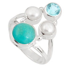 6.53cts natural green peruvian amazonite topaz 925 silver ring size 6.5 p90774