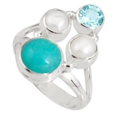 6.53cts natural green peruvian amazonite topaz 925 silver ring size 7 p90775