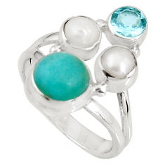 6.54cts natural green peruvian amazonite topaz 925 silver ring size 8 p90778