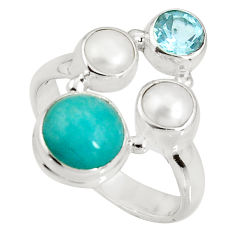 6.53cts natural green peruvian amazonite topaz 925 silver ring size 7.5 p90779