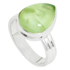 6.83cts natural green prehnite 925 silver solitaire ring jewelry size 7.5 p33228