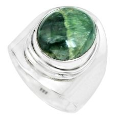 5.31cts natural green seraphinite 925 silver solitaire ring size 6.5 p70242
