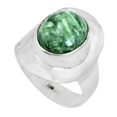 5.10cts natural green seraphinite 925 silver solitaire ring size 8.5 p70245