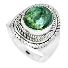 5.32cts natural green seraphinite 925 silver solitaire ring size 9 p70247