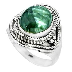 5.30cts natural green seraphinite 925 silver solitaire ring size 8.5 p70248