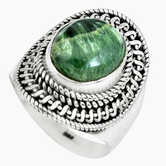 5.18cts natural green seraphinite 925 silver solitaire ring size 8 p70251