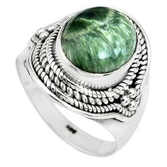 5.32cts natural green seraphinite 925 silver solitaire ring size 8 p70253