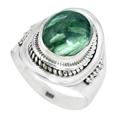 5.35cts natural green seraphinite 925 silver solitaire ring size 8.5 p70255