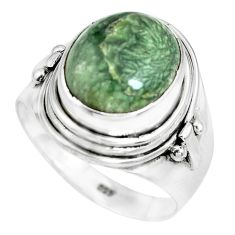 5.30cts natural green seraphinite 925 silver solitaire ring size 8 p70257