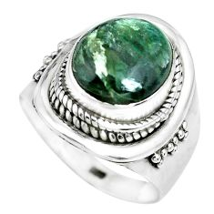 5.18cts natural green seraphinite 925 silver solitaire ring size 8 p70259