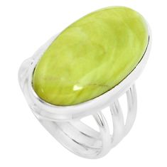 18.15cts natural green serpentine 925 silver solitaire ring size 7 p38882