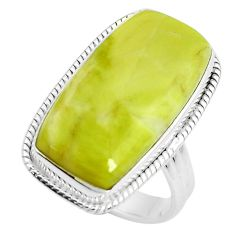 19.50cts natural green serpentine 925 silver solitaire ring size 8.5 p38883