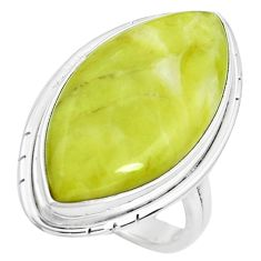 17.20cts natural green serpentine 925 silver solitaire ring size 7 p38884