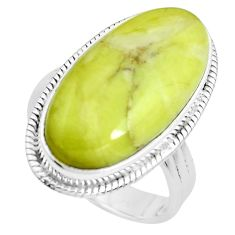 18.47cts natural green serpentine 925 silver solitaire ring size 8.5 p38886