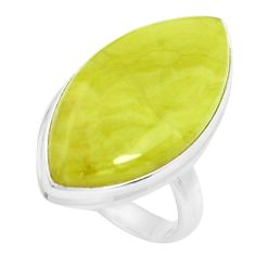 15.85cts natural green serpentine 925 silver solitaire ring size 7 p38888