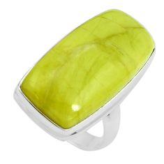 16.70cts natural green serpentine 925 silver solitaire ring size 6 p38890