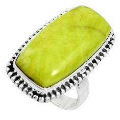 18.54cts natural green serpentine 925 silver solitaire ring size 6 p38898