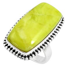 17.20cts natural green serpentine silver solitaire ring jewelry size 6 p38889