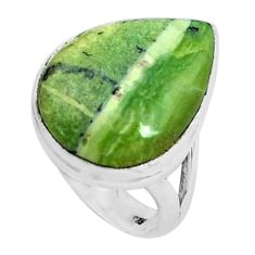 Natural green swiss imperial opal 925 silver solitaire ring size 7.5 p45976