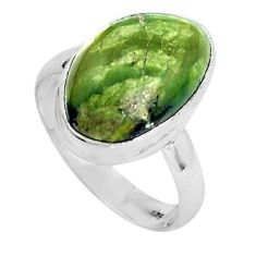 Natural green swiss imperial opal 925 silver solitaire ring size 9.5 p45977