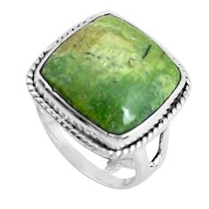 Natural green swiss imperial opal 925 silver solitaire ring size 6.5 p45980