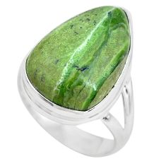 Natural green swiss imperial opal 925 silver solitaire ring size 6.5 p61495