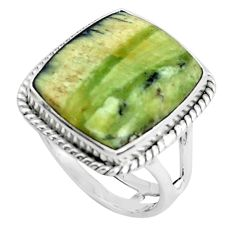 15.39cts natural green swiss imperial opal silver solitaire ring size 8.5 p45963