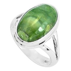 10.31cts natural green swiss imperial opal silver solitaire ring size 9 p45966