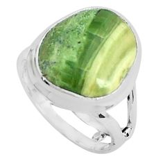 11.57cts natural green swiss imperial opal silver solitaire ring size 7.5 p45967