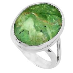 13.70cts natural green swiss imperial opal silver solitaire ring size 9.5 p45970