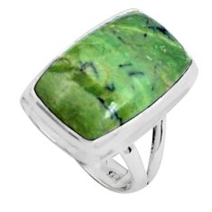 14.20cts natural green swiss imperial opal silver solitaire ring size 6 p45972