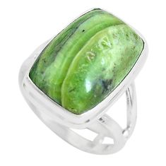 13.77cts natural green swiss imperial opal silver solitaire ring size 8 p61481