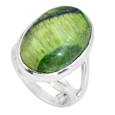 12.89cts natural green swiss imperial opal silver solitaire ring size 5 p61482